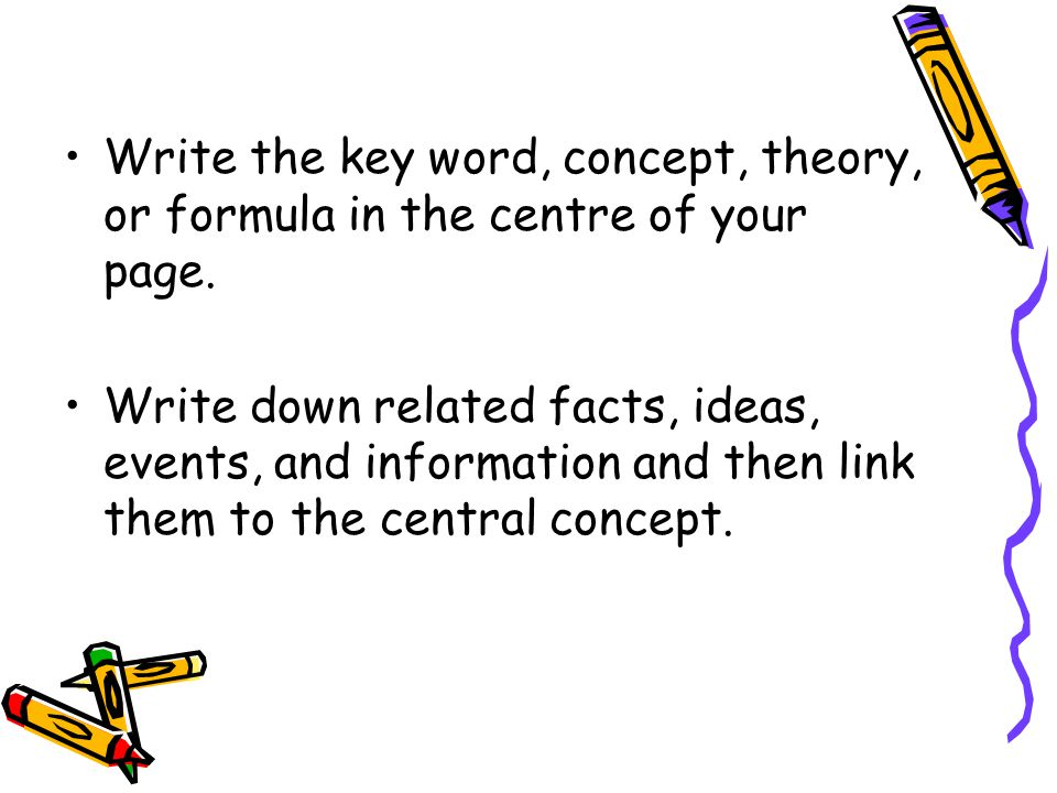 Write the key word, concept, theory, or formula in the centre of your page.