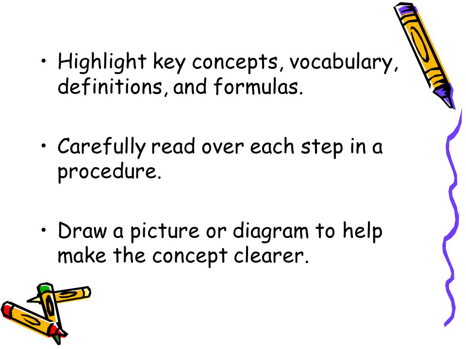 Highlight key concepts, vocabulary, definitions, and formulas.