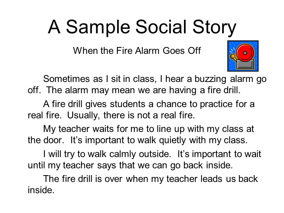 A Sample Social Story When the Fire Alarm Goes Off