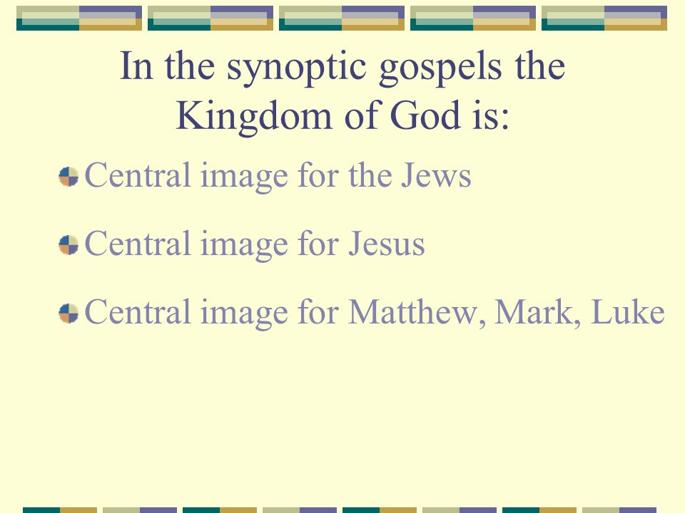 In the synoptic gospels the Kingdom of God is: