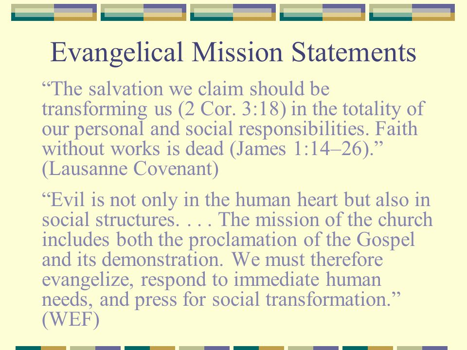 Evangelical Mission Statements