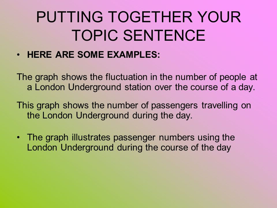 PUTTING TOGETHER YOUR TOPIC SENTENCE