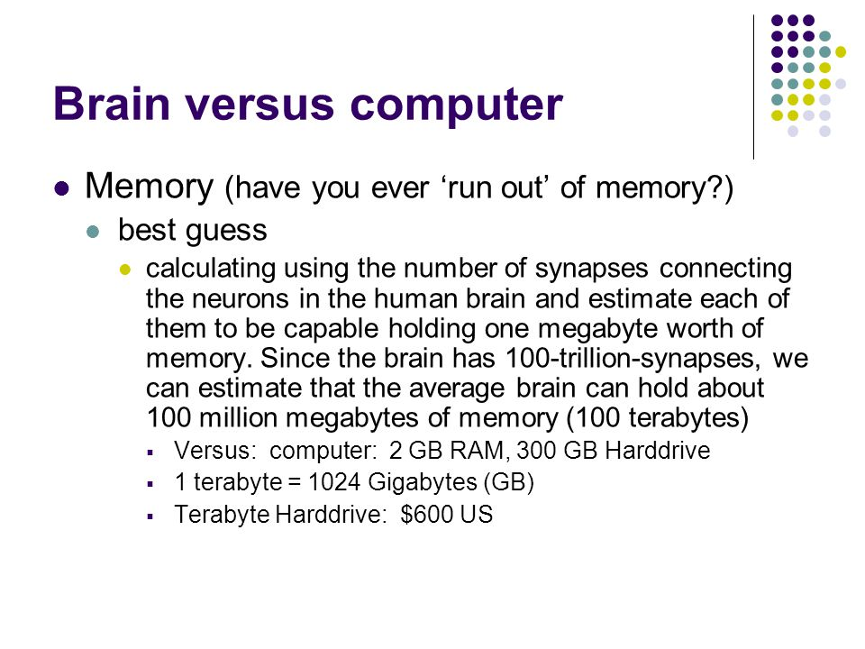 Brain versus computer Memory (have you ever 'run out' of memory )
