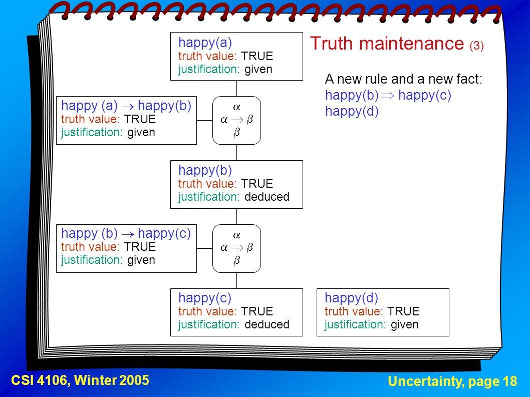 Truth maintenance (3) happy(a) happy (a)  happy(b) happy(b)