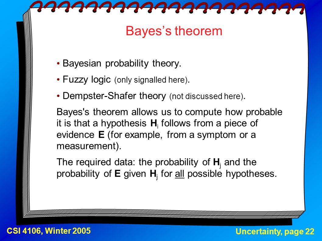 Bayes's theorem Bayesian probability theory.