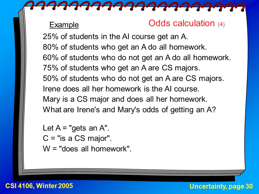 Odds calculation (4) Example