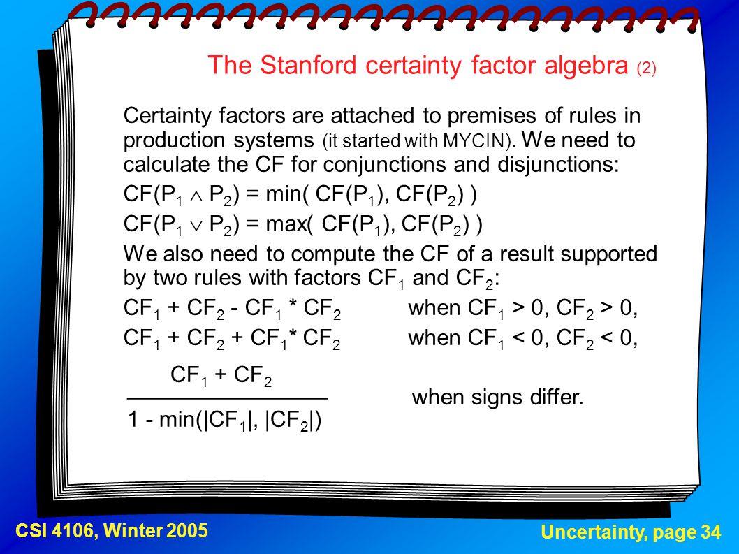 The Stanford certainty factor algebra (2)