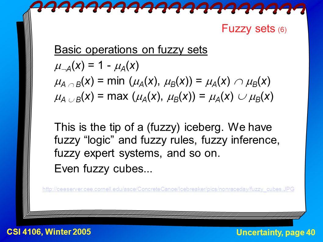 Basic operations on fuzzy sets A(x) = 1 - A(x)