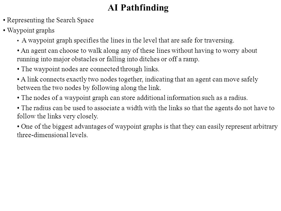 AI Pathfinding Representing the Search Space Waypoint graphs