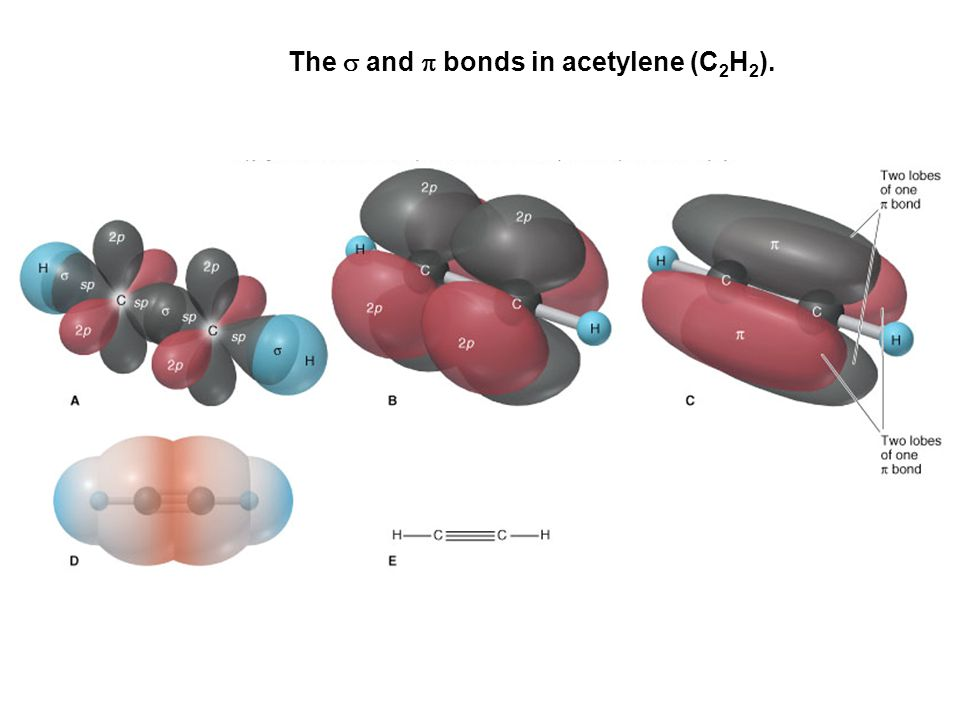 The s and p bonds in acetylene (C2H2).