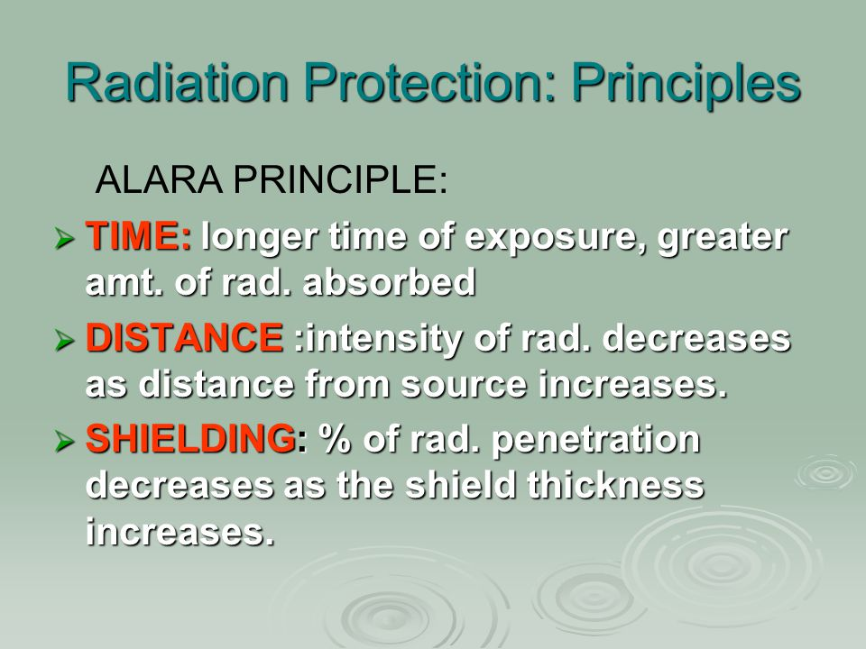 Radiation Protection: Principles