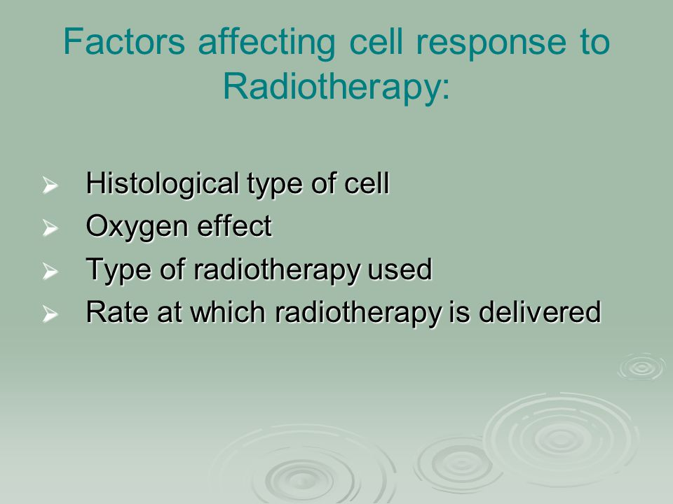Factors affecting cell response to Radiotherapy: