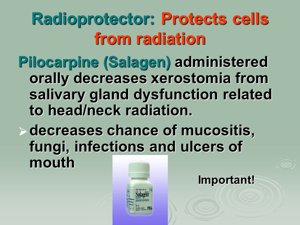 Radioprotector: Protects cells from radiation