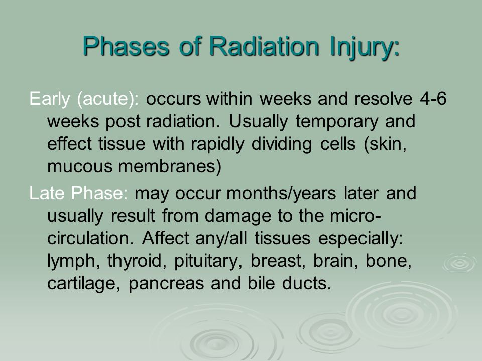 Phases of Radiation Injury: