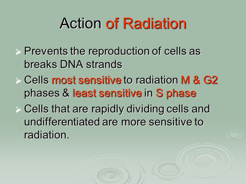 Action of Radiation Prevents the reproduction of cells as breaks DNA strands.