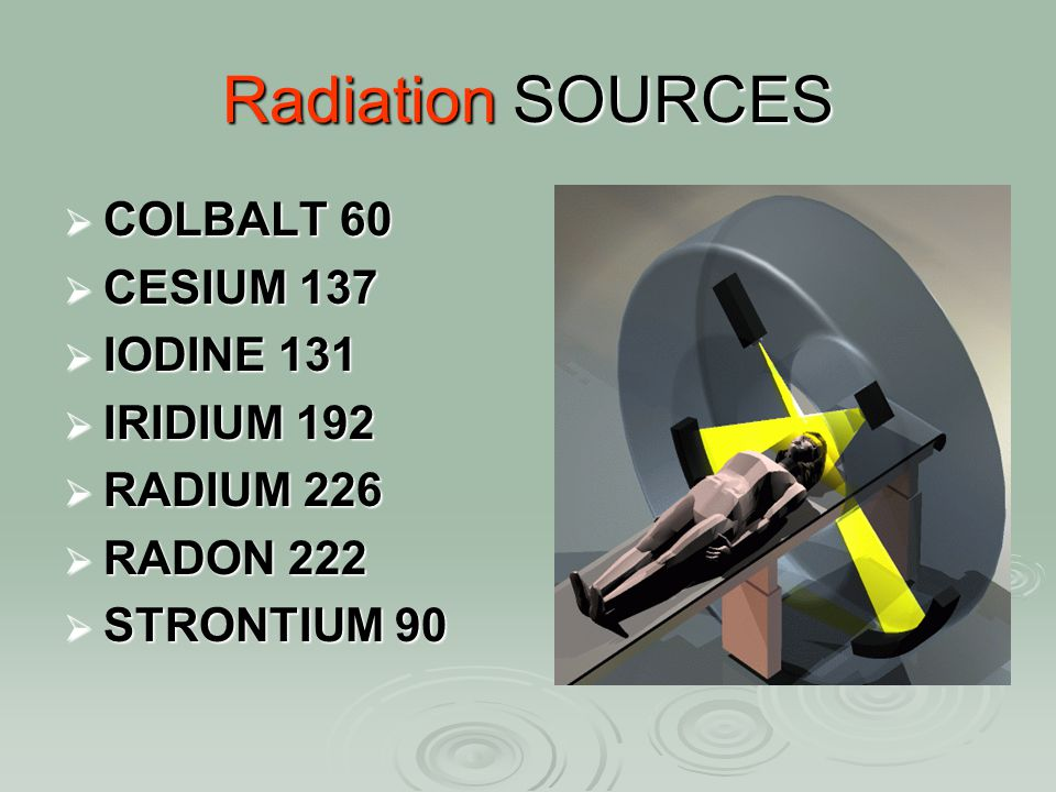 Radiation SOURCES COLBALT 60 CESIUM 137 IODINE 131 IRIDIUM 192