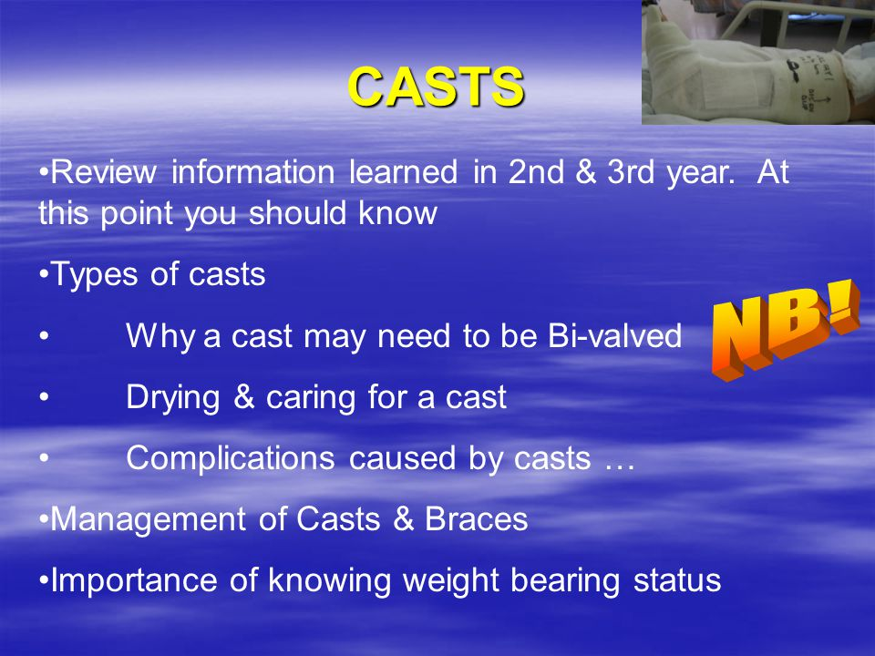 CASTS Review information learned in 2nd & 3rd year. At this point you should know. Types of casts.