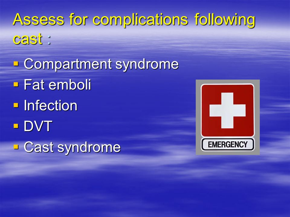 Assess for complications following cast :
