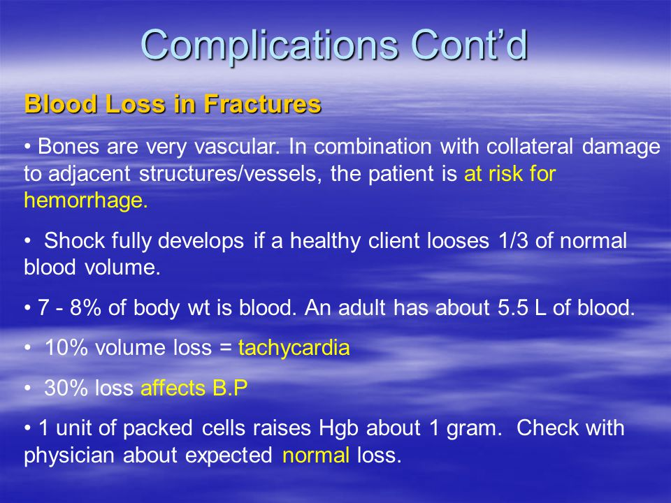 Complications Cont'd Blood Loss in Fractures