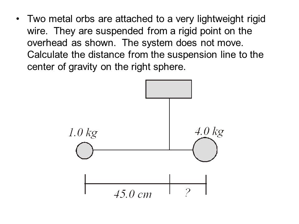 Two metal orbs are attached to a very lightweight rigid wire
