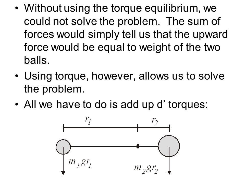 Without using the torque equilibrium, we could not solve the problem