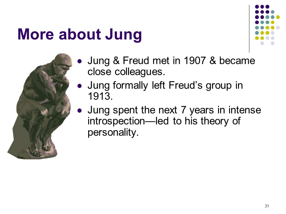 More about Jung Jung & Freud met in 1907 & became close colleagues.