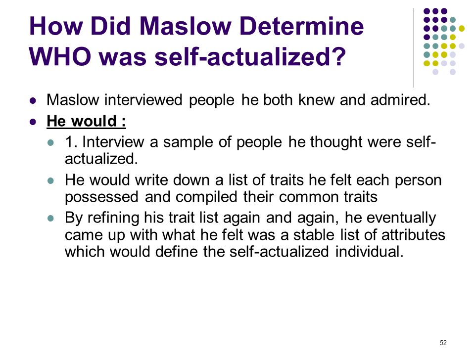 How Did Maslow Determine WHO was self-actualized