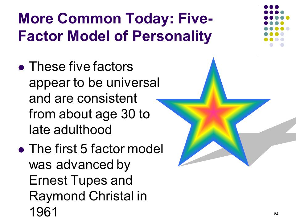 More Common Today: Five-Factor Model of Personality