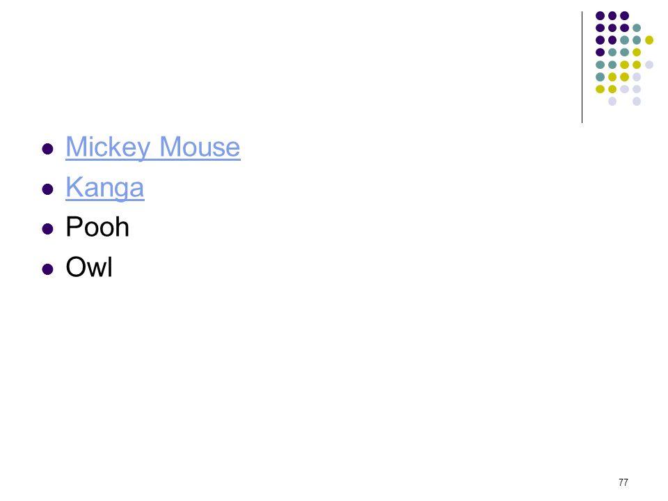 Mickey Mouse Kanga Pooh Owl