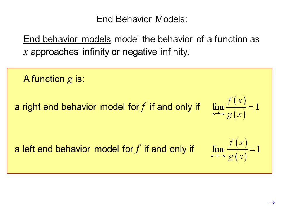 End Behavior Models: End behavior models model the behavior of a function as x approaches infinity or negative infinity.