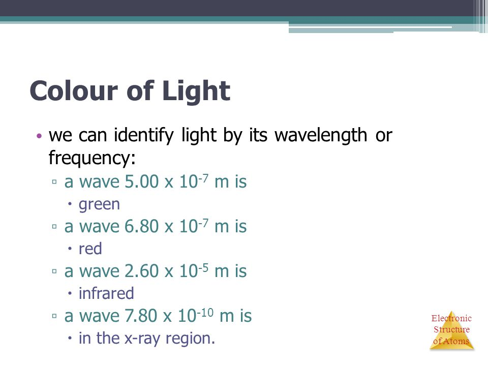 Colour of Light we can identify light by its wavelength or frequency: