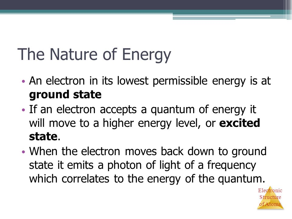 The Nature of Energy An electron in its lowest permissible energy is at ground state.