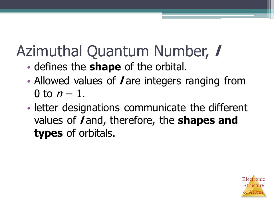 Azimuthal Quantum Number, l