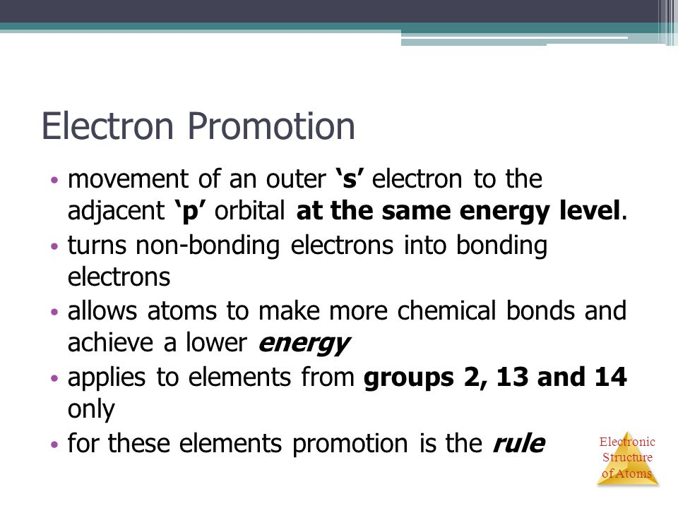 Electron Promotion movement of an outer 's' electron to the adjacent 'p' orbital at the same energy level.