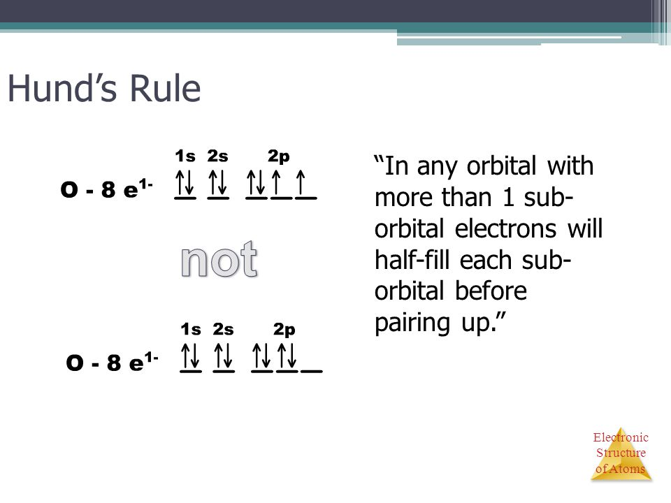 Hund's Rule In any orbital with more than 1 sub- orbital electrons will half-fill each sub- orbital before pairing up.