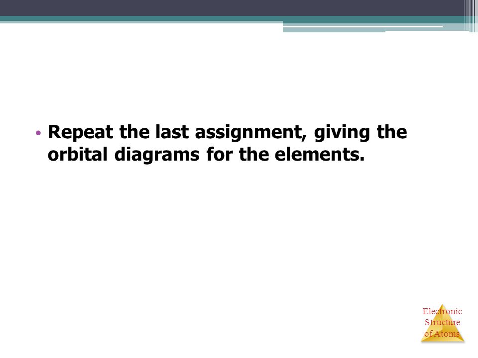 Repeat the last assignment, giving the orbital diagrams for the elements.