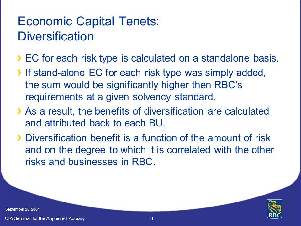 Economic Capital Tenets: Diversification