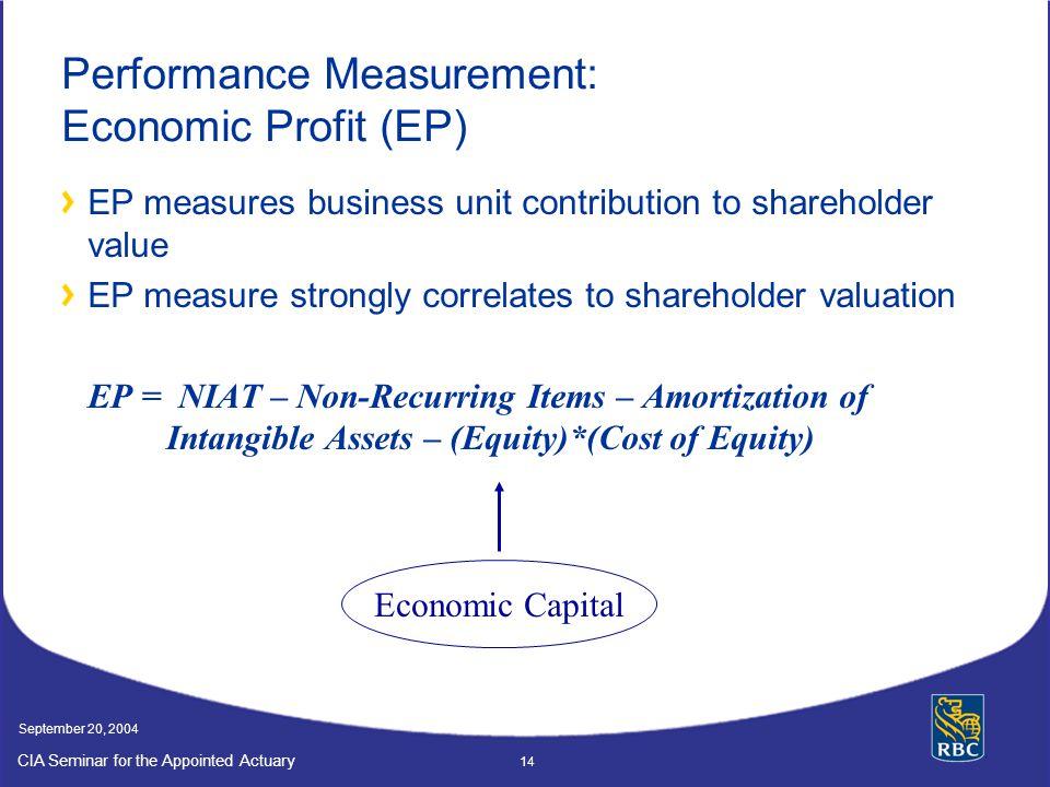 Performance Measurement: Economic Profit (EP)