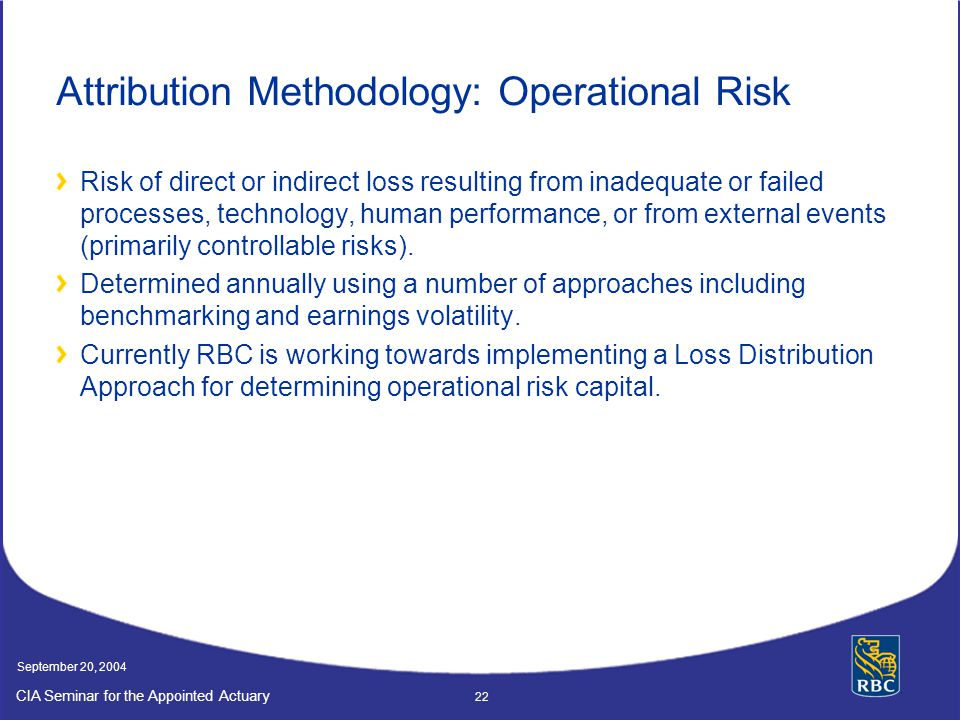 Attribution Methodology: Operational Risk