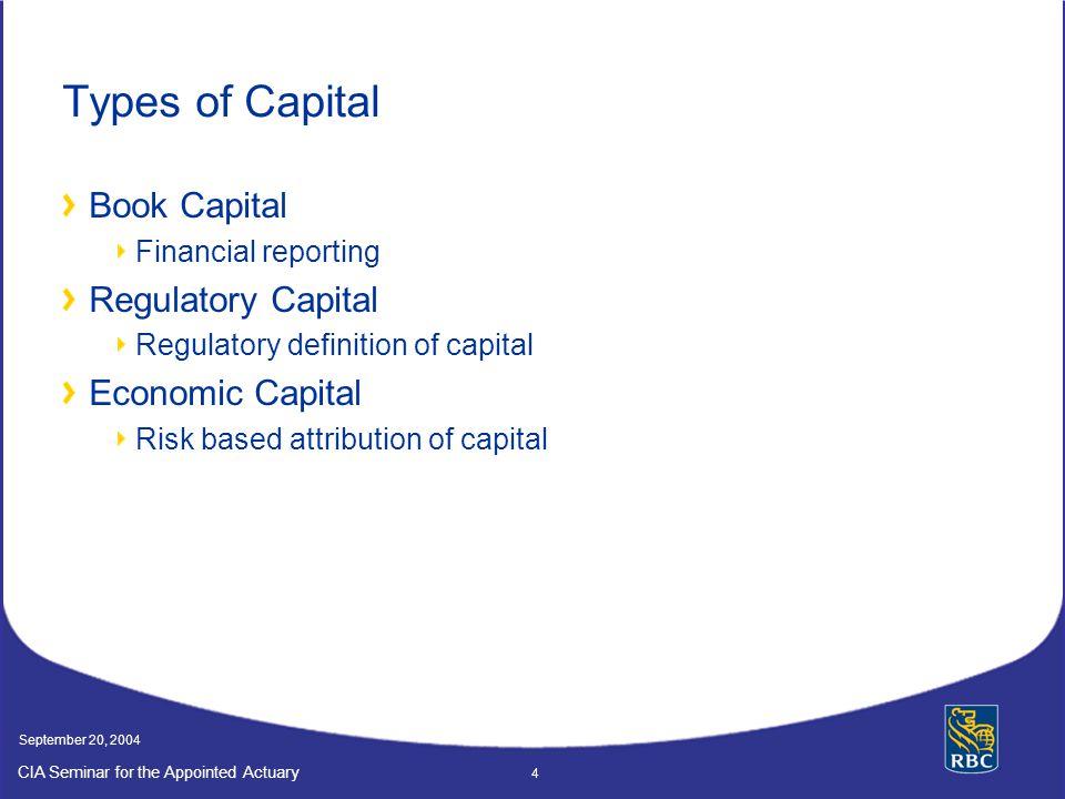 Types of Capital Book Capital Regulatory Capital Economic Capital