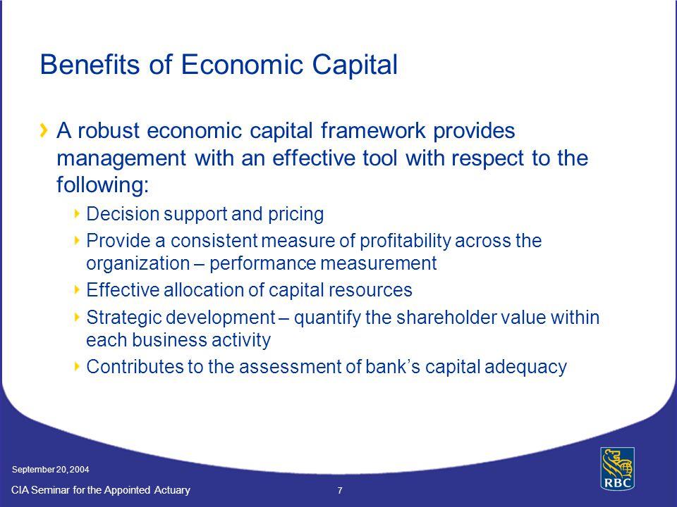Benefits of Economic Capital
