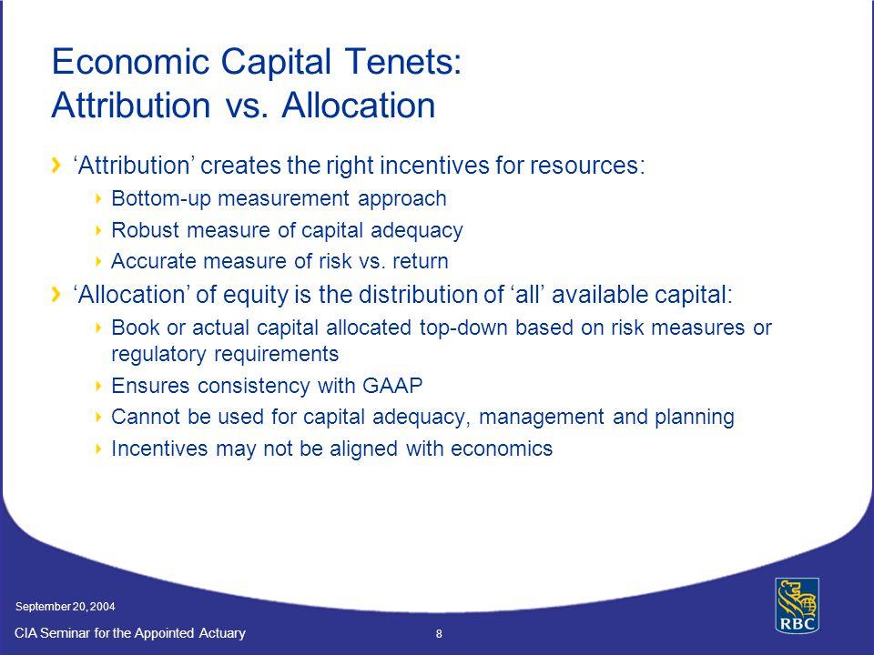 Economic Capital Tenets: Attribution vs. Allocation