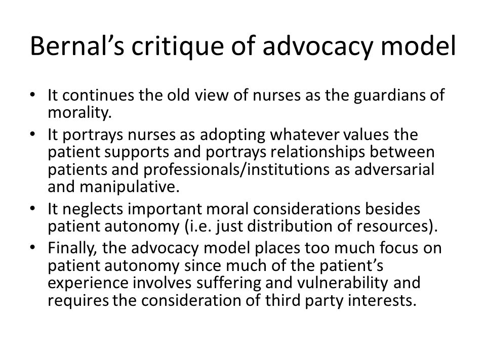 Bernal's critique of advocacy model