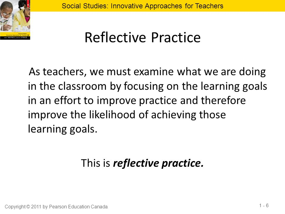 This is reflective practice.