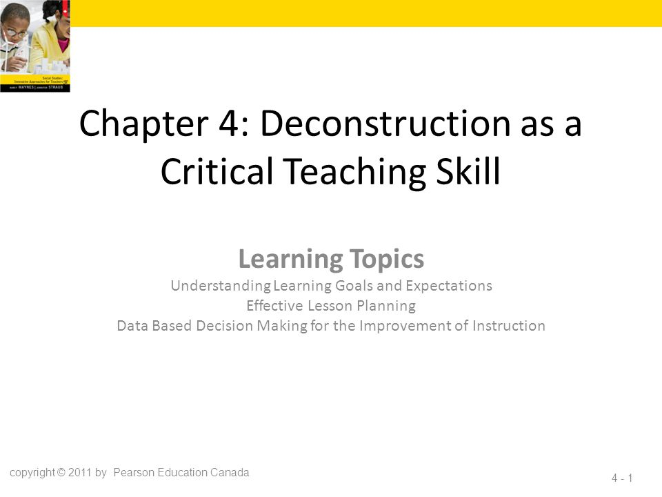 Chapter 4: Deconstruction as a Critical Teaching Skill