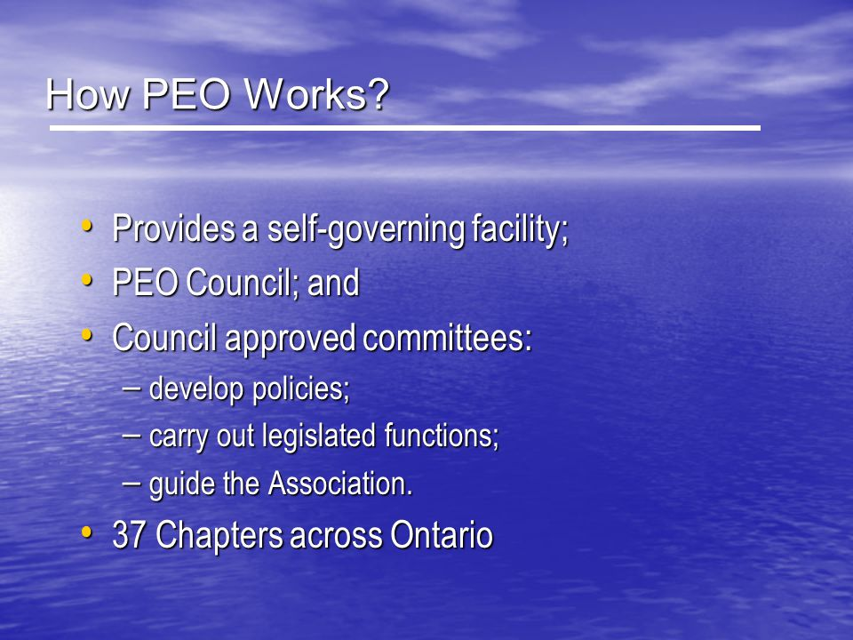How PEO Works Provides a self-governing facility; PEO Council; and