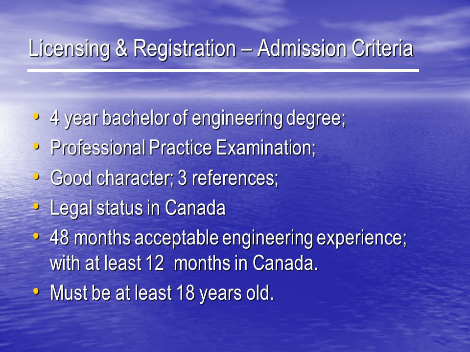 Licensing & Registration – Admission Criteria