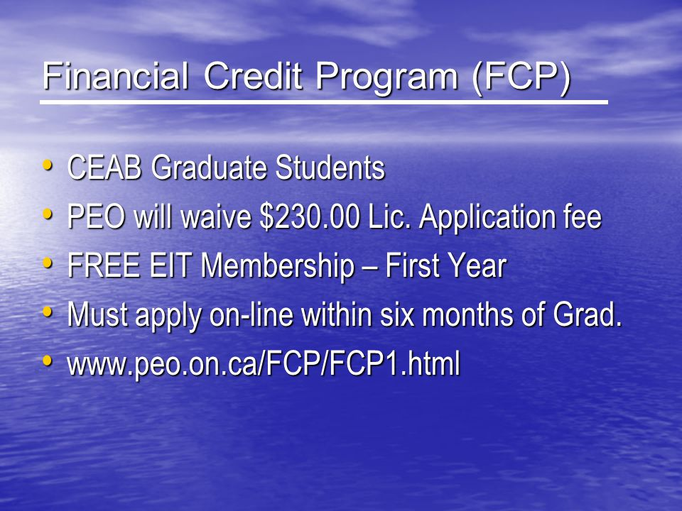 Financial Credit Program (FCP)