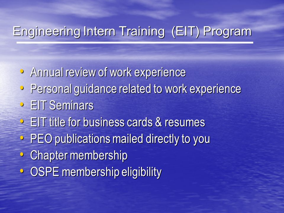 Engineering Intern Training (EIT) Program