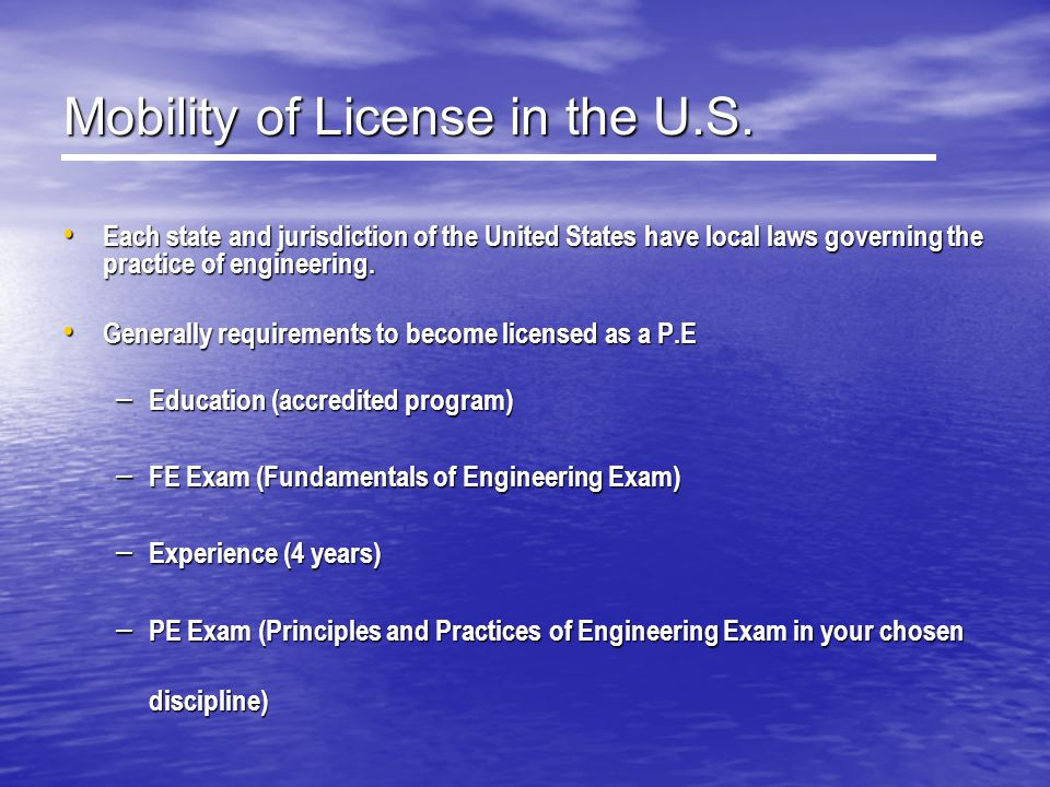 Mobility of License in the U.S.